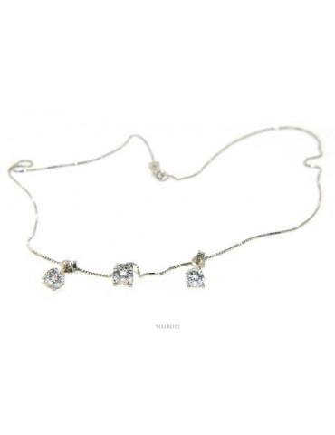 125458P Parure donna punto luce 5 mm in argento 925 con zircone. Catena veneziana ciondolo passante e Orecchini abbinati NALBORI