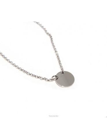 NALBORI collana donna Argento 925 rolo' 45+5 con medaglietta tonda massiccia