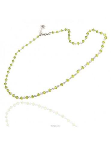 NALBORI collana argento 925 per uomo o donna con cristallo verde lime 3,5 mm marsigliese fatta a mano 45+5 nalbori_1208