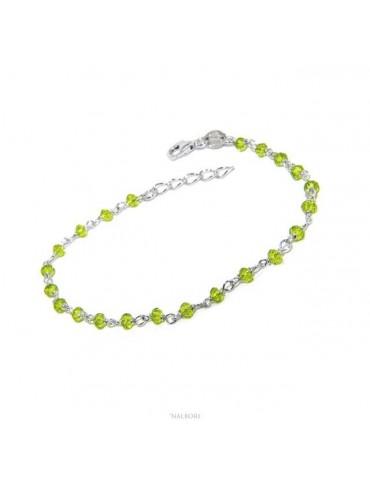 NALBORI N1209 Bracciale uomo donna Argento 925 Con cristallo verde lime 3,5mm marsigliese made in italy
