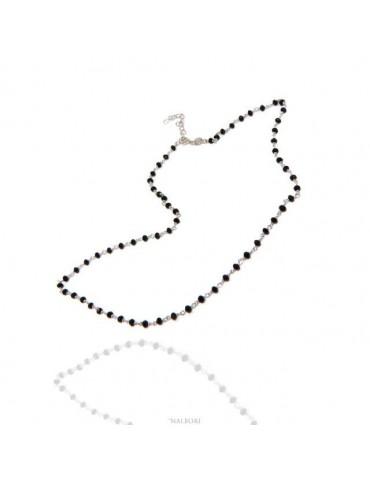 N1212 Collana uomo donna Argento 925 Con cristallo nero 3,5 mm linea marsigliesi di NALBORI fatta a mano 50+5
