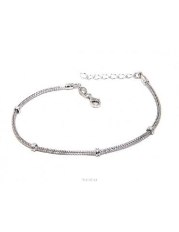 NALBORI bracciale fox tail cavetto argento 925 con pepite rondelle uomo e donna