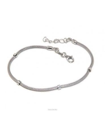 NALBORI bracciale fox tail cavetto argento 925 con rondelle lisce uomo e donna 16,5 - 20,00