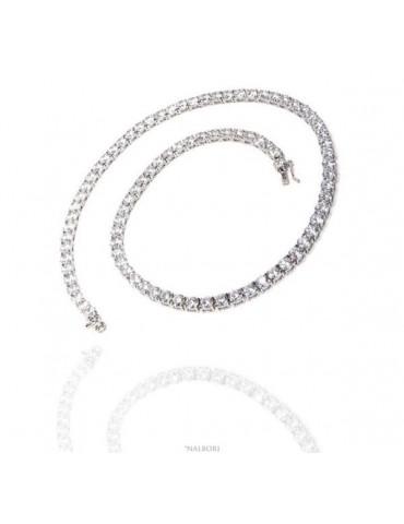 NALBORI Collana Collier donna argento 925 Tennis con zirconi bianchi griffe 5 mm taglio brillante