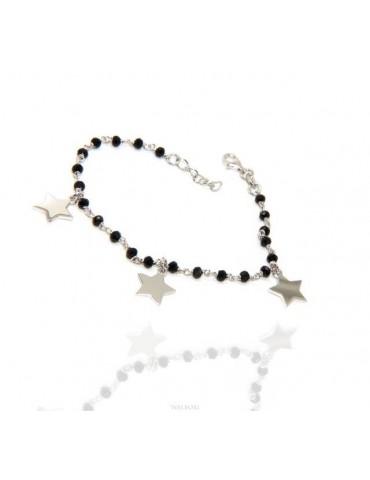 NALBORI Bracciale donna Argento 925 marsigliese nero con ciondoli di stelle