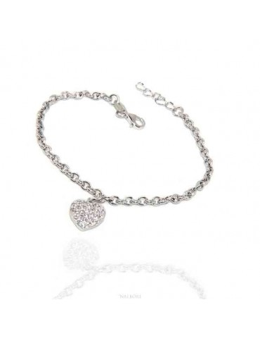 NALBORI Bracelet Silver 925 woman girl heart pendant and cubic zirconia