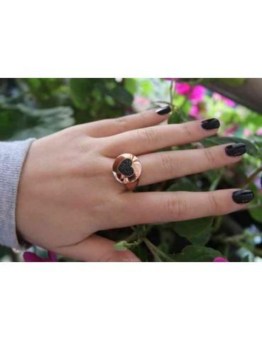 NALBORI anello chevalier rosa cuore in argento 925 zirconi neri