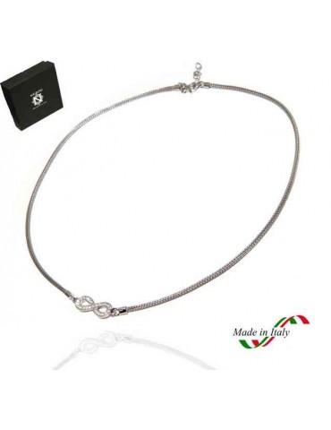 NALBORI collana cavetto argento 925 infinito zirconi fox tail