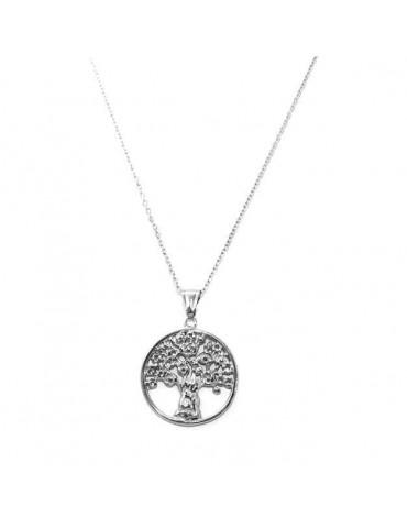 collana in acciaio con medaglia albero della vita
