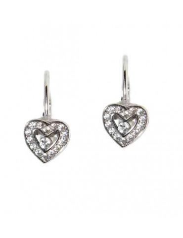 Orecchini in argento 925 monachella piccola e cuore