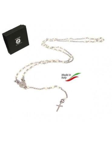 NALBORI Collana Rosario Argento 925 a Y  perle , bagno oro bianco