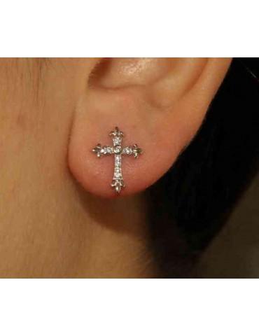 NALBORI orecchini argento 925 con la croce gigliata e zirconi