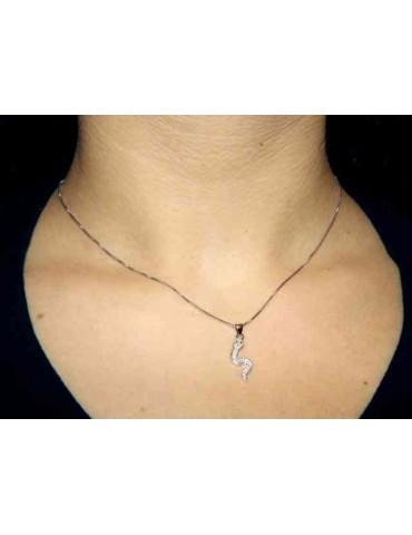 NALBORI collana argento 925 con serpente pietre bianche