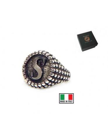 Anello pallinato argento 925 regolabile chevalier lettera S