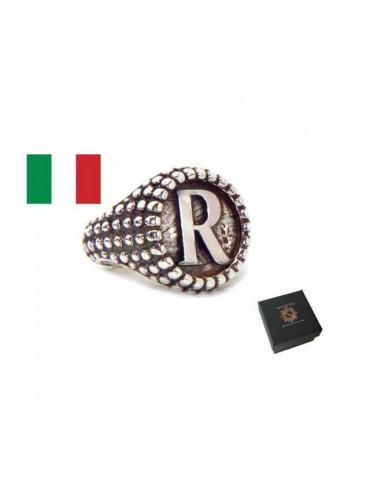 NALBORI Anello Argento 925 pallinato chevalier regolabile lettera R