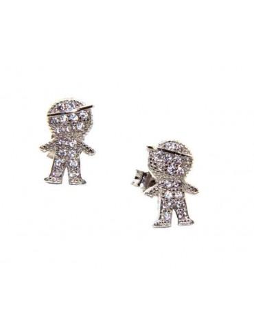 NALBORI orecchini argento 925 bambino con berretto zirconi