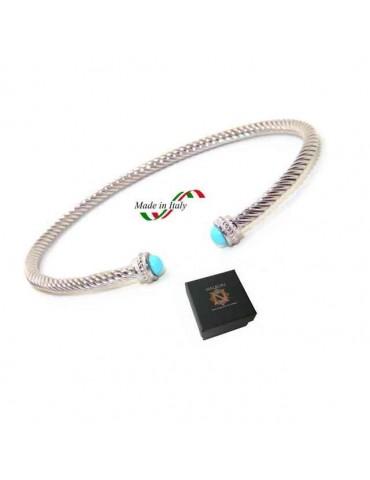 NALBORI Cable bracciale cavetto rigido aperto con turchese