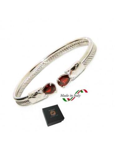 NALBORI Cable bracciale cavetto rigido aperto con zircone rubin rosso