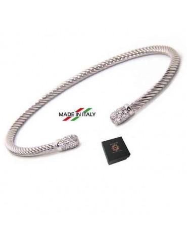 NALBORI Cable bracciale cavetto rigido aperto con pomello di zirconi