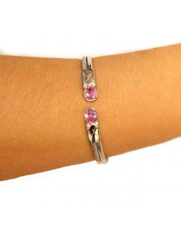 NALBORI Cable bracciale cavetto rigido aperto con zircone rosa