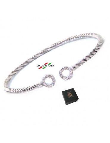 NALBORI Cable bracciale cavetto rigido aperto con anelli di zirconi