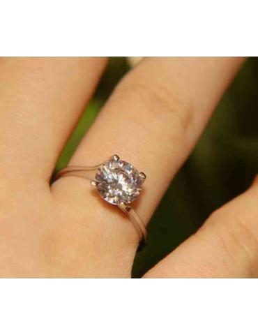 Argento 925 Rodiato : anello Solitario da donna con zircone da 8 mm 2ct taglio brillante