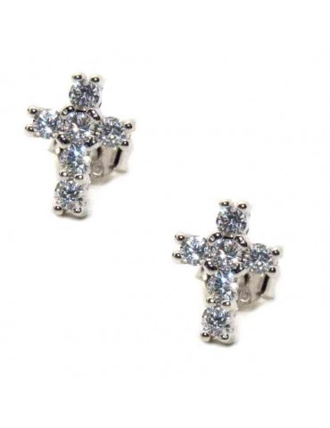 NALBORI Orecchini argento 925 a croce con zircone bianco 10x8