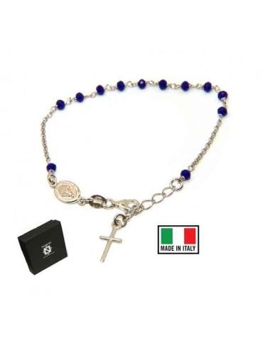 NALBORI Bracciale rosario in Argento 925 ovale madonna , croce e cristallo blu