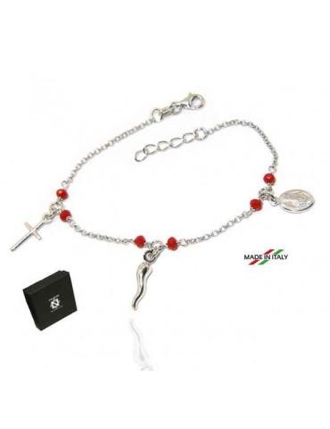 NALBORI Bracciale rosario in Argento 925 madonna cornetto croce rosso