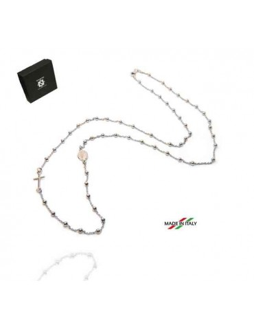 NALBORI collana rosario lunga in Argento 925 rodiato palline 3 mm - 70 cm