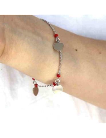 NALBORI Bracciale donna argento 925 con ciondoli cuore e cristallo rosso
