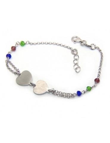 Bracciale uomo donna Argento 925  lavorazione a rosario cristallo con doppio cuore satinato  17