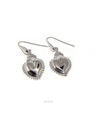 NALBORI orecchini donna argento 925 con cuore fiamma ex voto milagros messicano