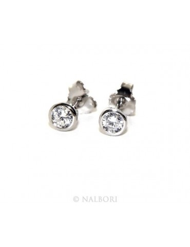 Argento 925 : Orecchini cipollino 3 mm punto luce con zircone. per uomo e donna
