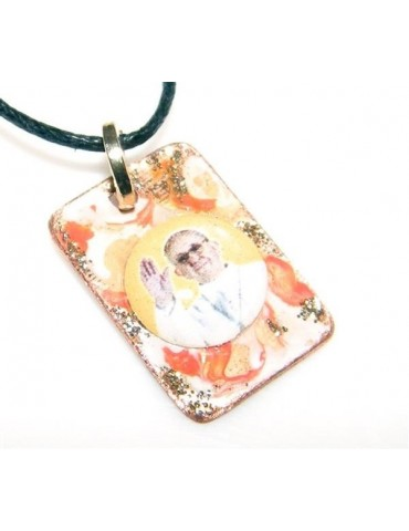 Medaglietta Rame 999 copperfantasy panna arancio glitter immagine papa francesco serie giubileo