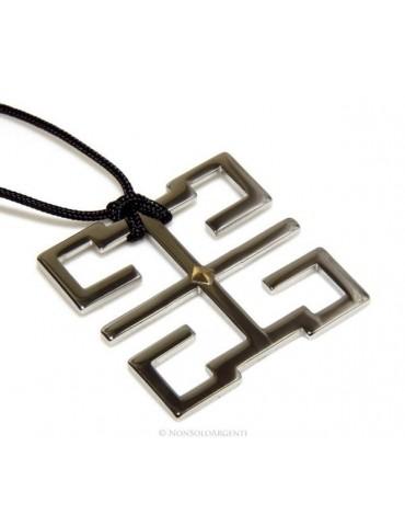 Acciaio Italia : Esclusivo ciondolo in acciaio e oro 750 18kt con ideogramma