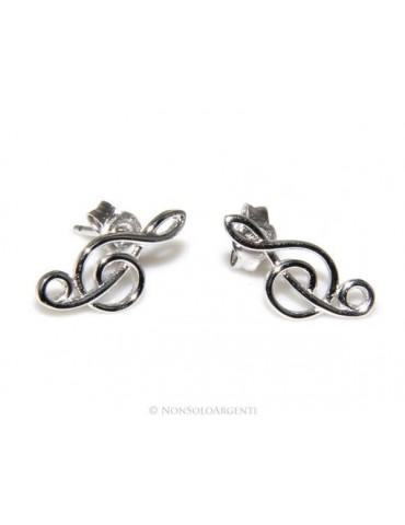Argento 925  : orecchini donna chiave di sol violino