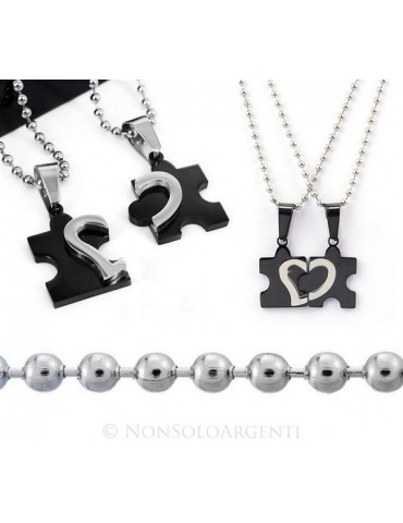 Acciaio : 2 collane complete puzzle spezzato da spezzare nero con cuore