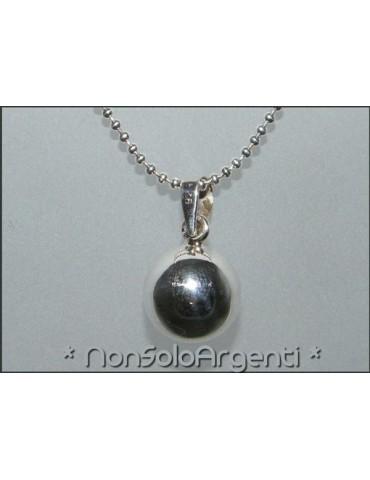 Ciondolo Tutto in Argento 925 : Pallina sfera piccola con Chiama Angeli 14 mm