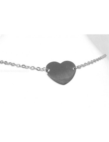 Acciaio  : Collana girocollo con centrale targa a cuore liscio  donna con catena