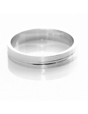 Argento 925 : Anello fede fedina diamantata massiccia 4 mm rigata tutte le misure