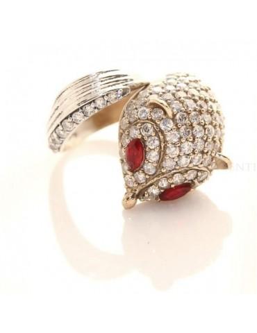 Argento 925 : Anello 2 colori regolabile Fox Volpe zirconi e navette rosso rubino mis 17