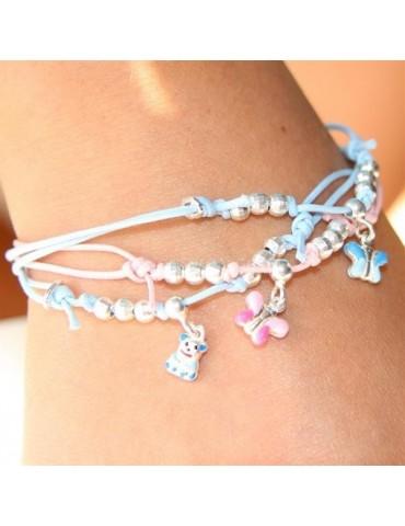 braccialetto cavigliera Argento 925 : bambino bambina baby rosa celeste bomboniera battesimo o mamma farfalla orsetto