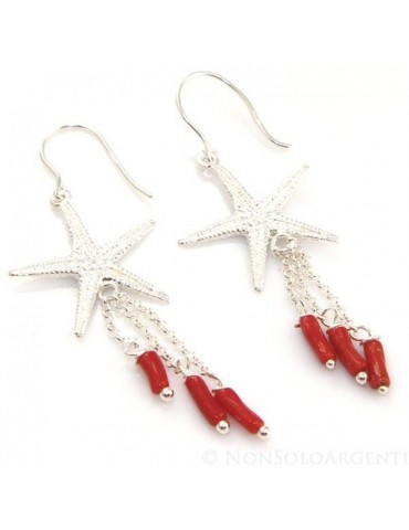 Orecchini donna Argento 925 stella marina grande e ciondoli barilotti di corallo verace