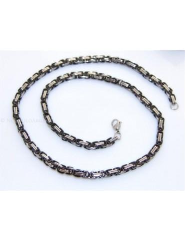 Acciaio : Collana uomo / donna Stainless Steel silver e nero maglia quadrata doppia 60 cm