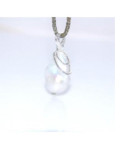 Esclusivo Ciondolo donna linea Amalfi in argento 925 ed enorme perla barocca naturale a goccia