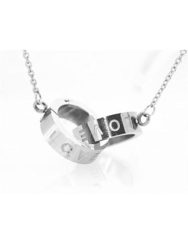 Acciaio al titanio : collana rolo' con centrale anelli cerchi intrecciati scritta LOVE