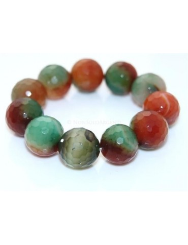 Bracciale Elastico etnico mega perle sfaccettate agata brasiliana arancio verde