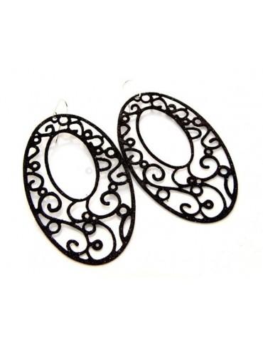 Argento 925 Italiano : Orecchini ovali taglio laser 8x5 cm trattamento glitter Nero