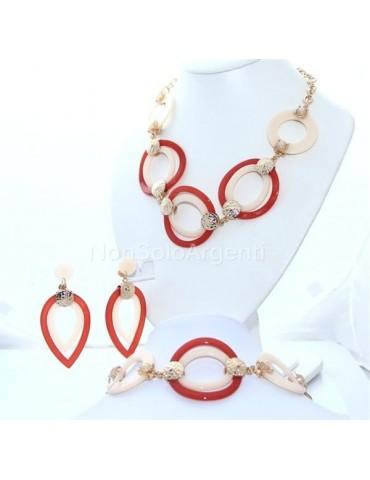 Bigiotteria : esclusiva Parure bachelite e lucite cerchi e goccia 3 pezzi arancio e crema tono oro